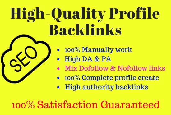 I will do 30 high DA profile creation backlinks
