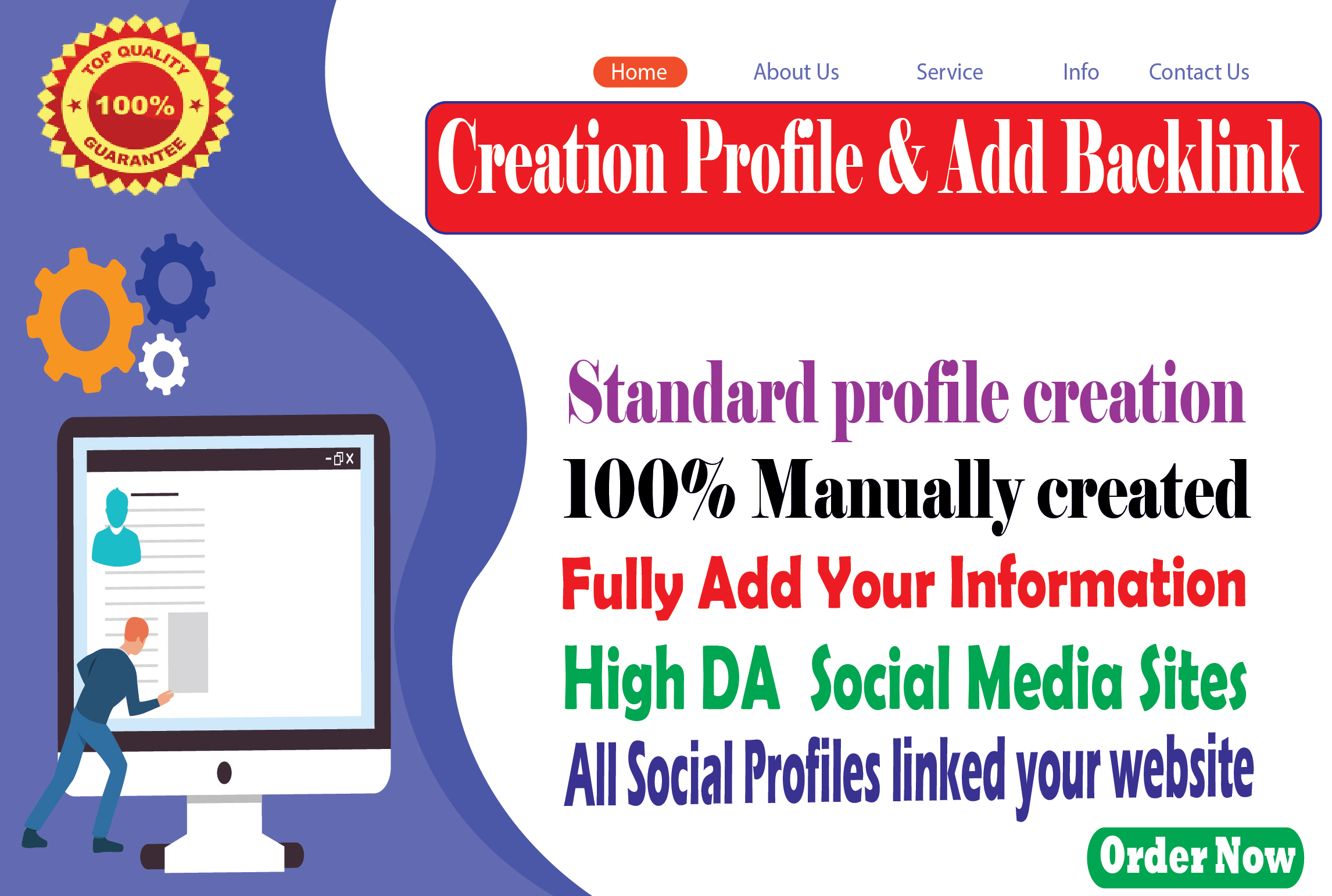 I will manually Creation 50 profile and add backlinks