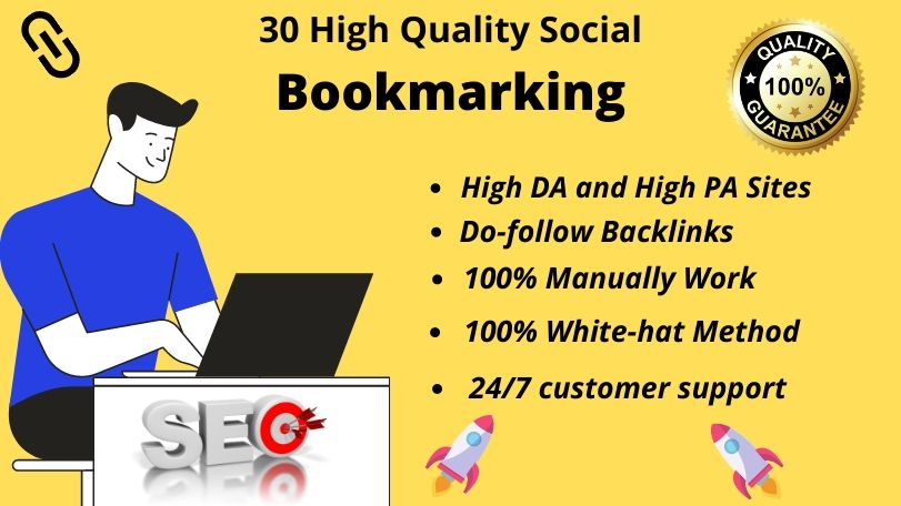 Provide top 30 heigh authority do-follow Social bookmarking backlinks for your website ranking.