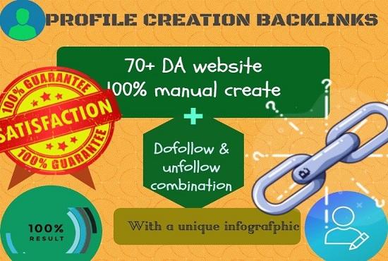 I will do 40 high PA & DA profile creation backlinks