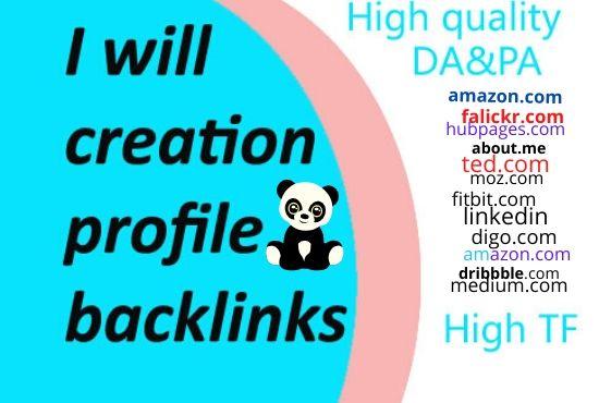 I will give 30 High Authority DA& PA profile creation Backlinks service