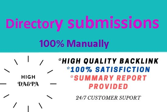I will create 60 Directory submission high Authority powerful backlinks.