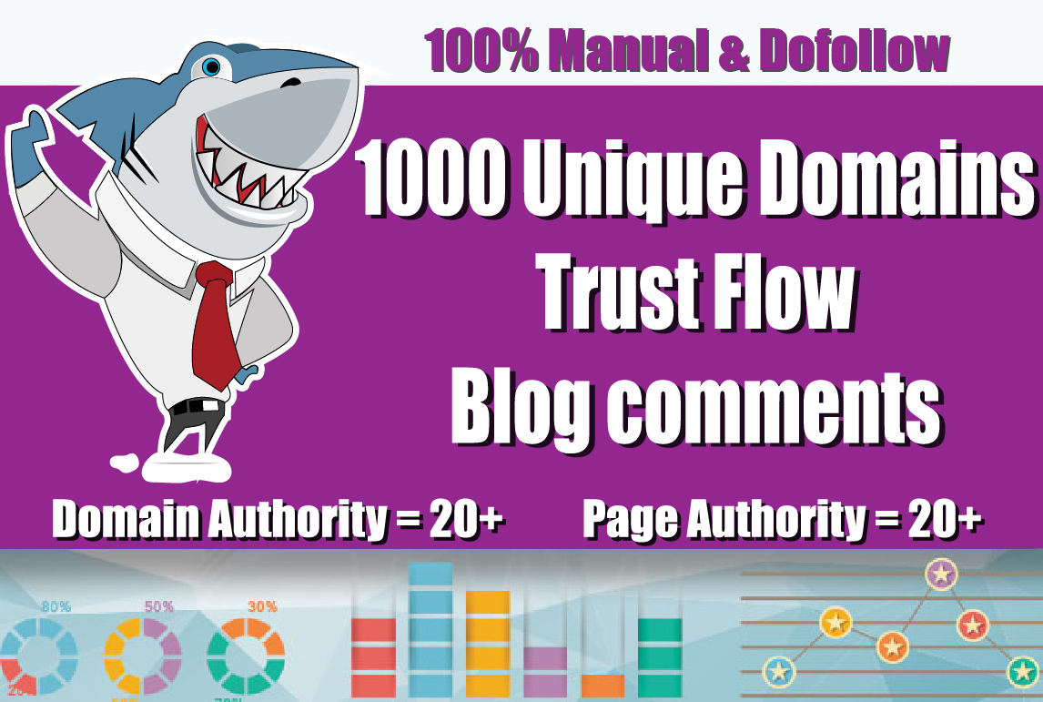 I will Manually Do 1000 Unique Blog Comments backlinks on HIGH DA PA TF sites on Actual Pages