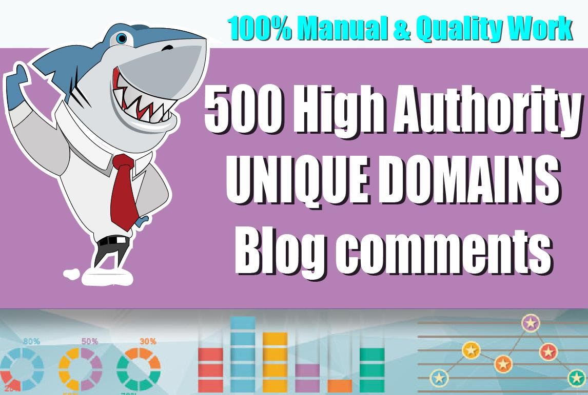 Create 500 Unique Domains Blog Comments + 5 DR 40+ Homepage PBN Seo Backlinks on high DA PA