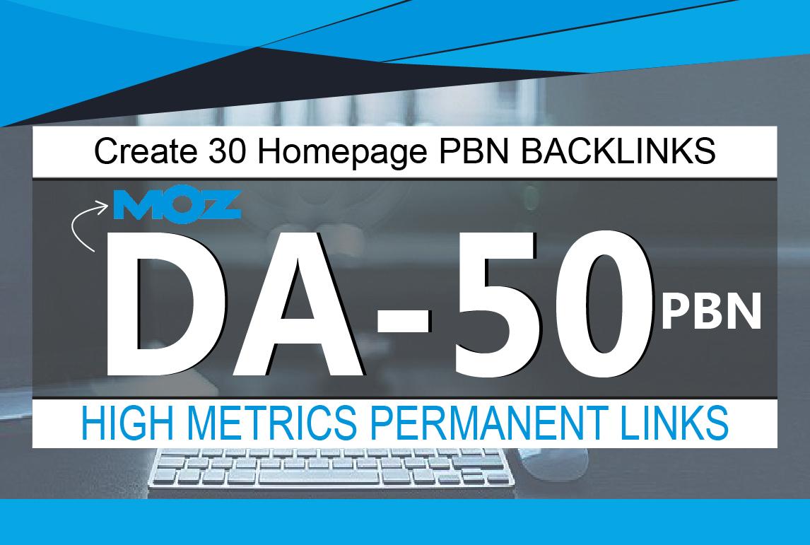 Create 30 Homepage PBN Backlinks High Quality DA 50 Plus