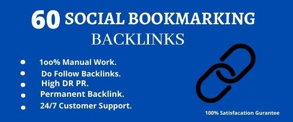 I will create manually high DA PA Top 60 Social Bookmark Backlinks