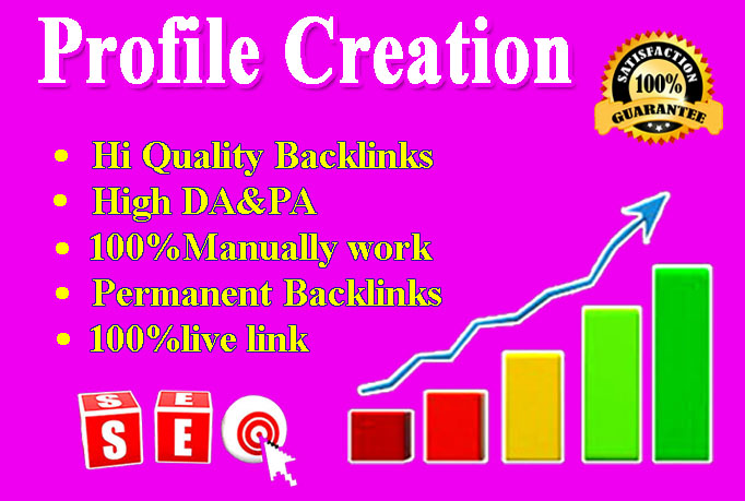 I will create 100+ high-quality Profile Creation Backlinks for your website.