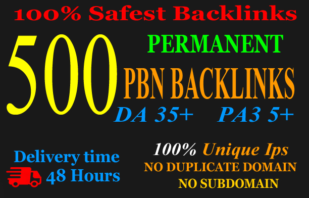 500 PBN Backlink in your website hompage with HIGH DA/PA/TF/CF with unique websites