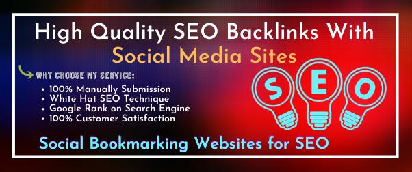 I will do Manually 40 Social Bookmarking SEO Backlinks With Social Media Sites