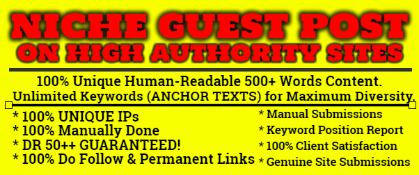 I will Write and Publish 5 Niche Guest Post on High Authority Sites