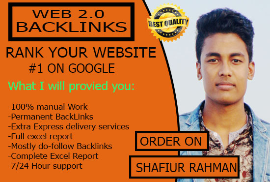 I will provide 50 off page SEO high quality Da Web 2.0 backlinks