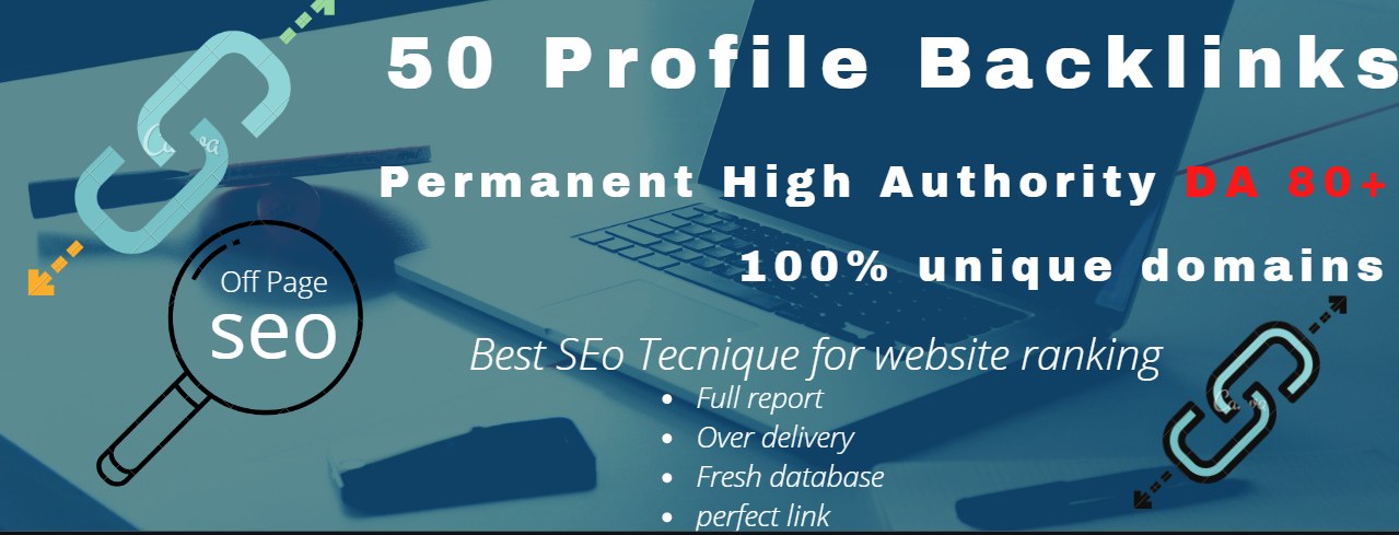 I will do 50 Profile backlinks permanent high Authority PR & DA 80+