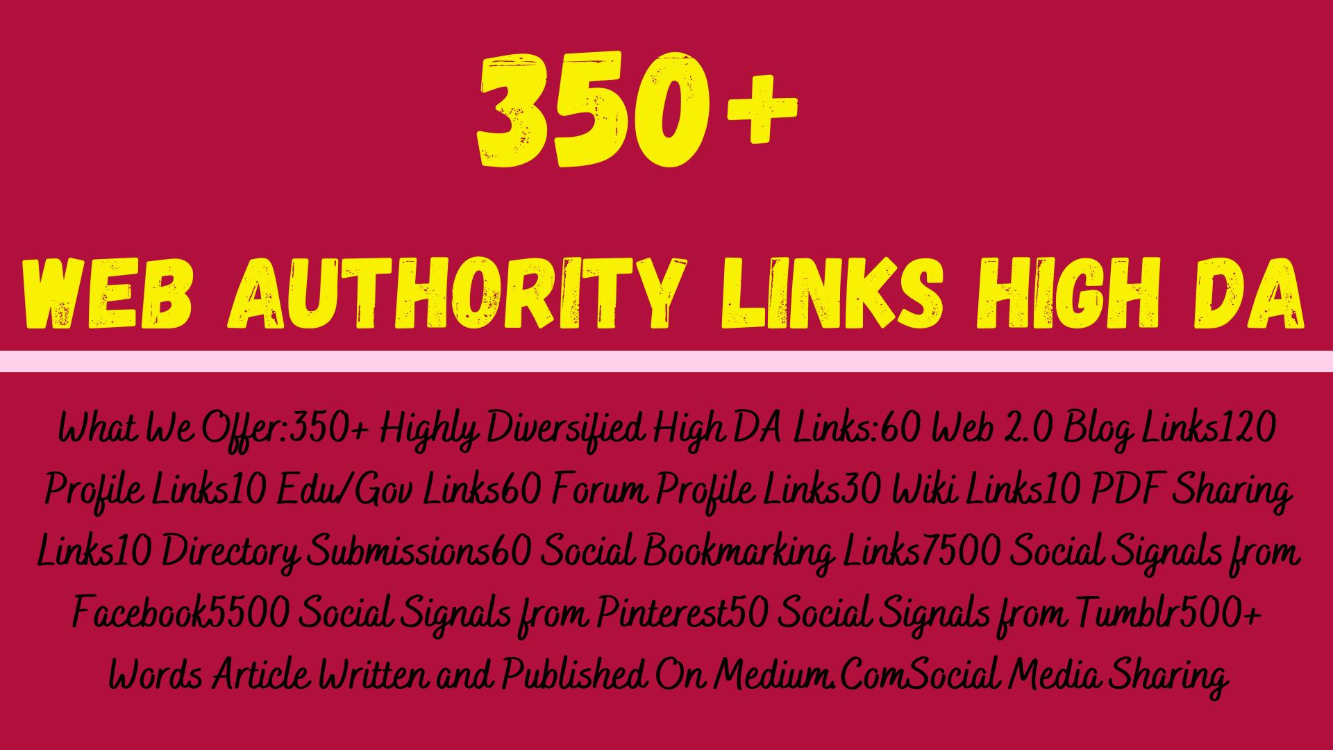 I will provide 350+ Web Authority Links High DA