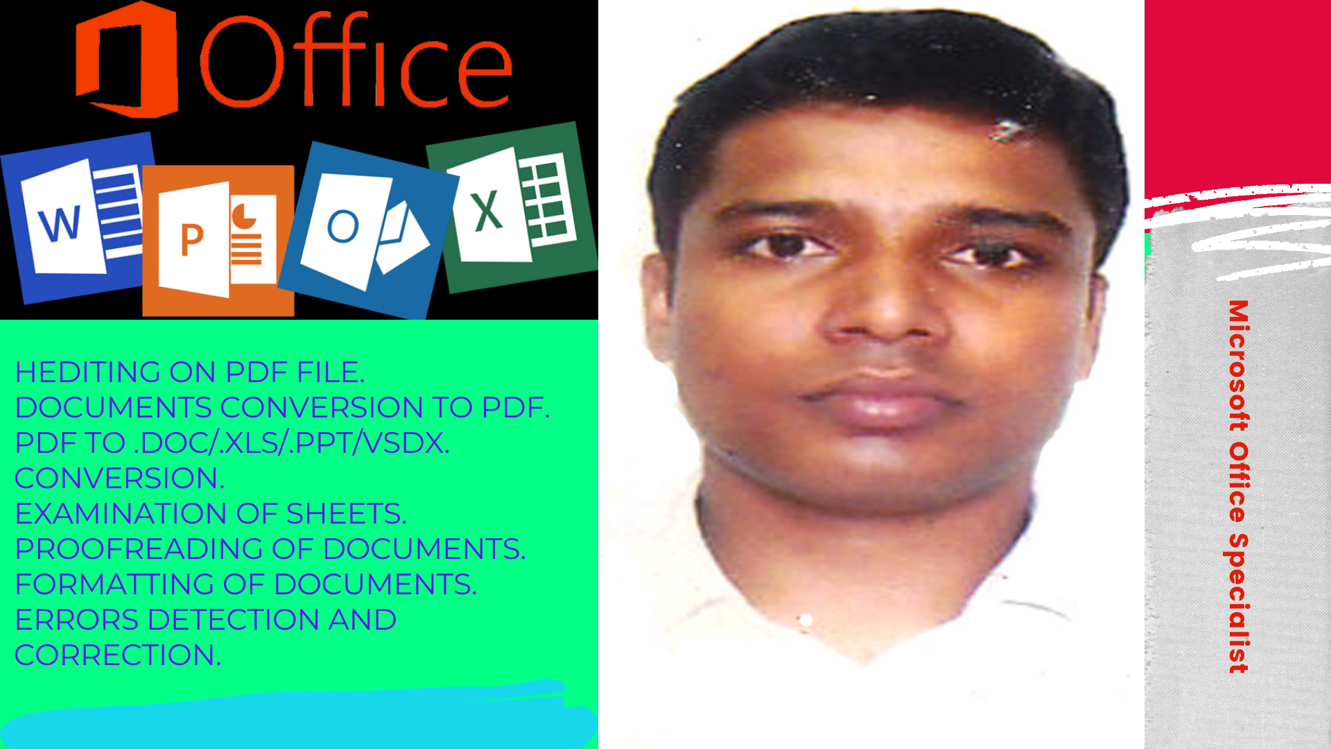 I will any venture on microsoft office,  excel,  word,  power point