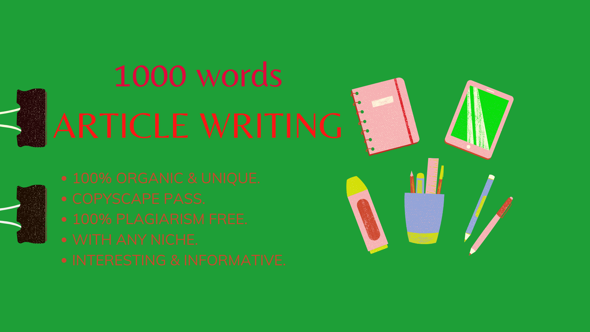 I will do 1000 words articles writing by your niche