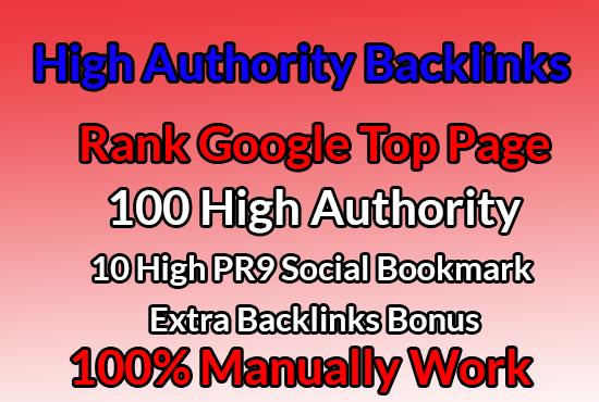 I Will create 100 High Authority SEO Backlinks + 10 High PR9 Social Bookmark+ Extra Bonus
