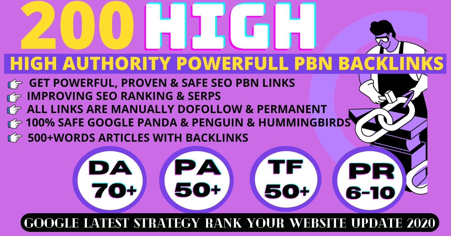 Build 200+ Permanent pbn backlinks DA70+ PA50+ PR6+ with web2.0 unique website