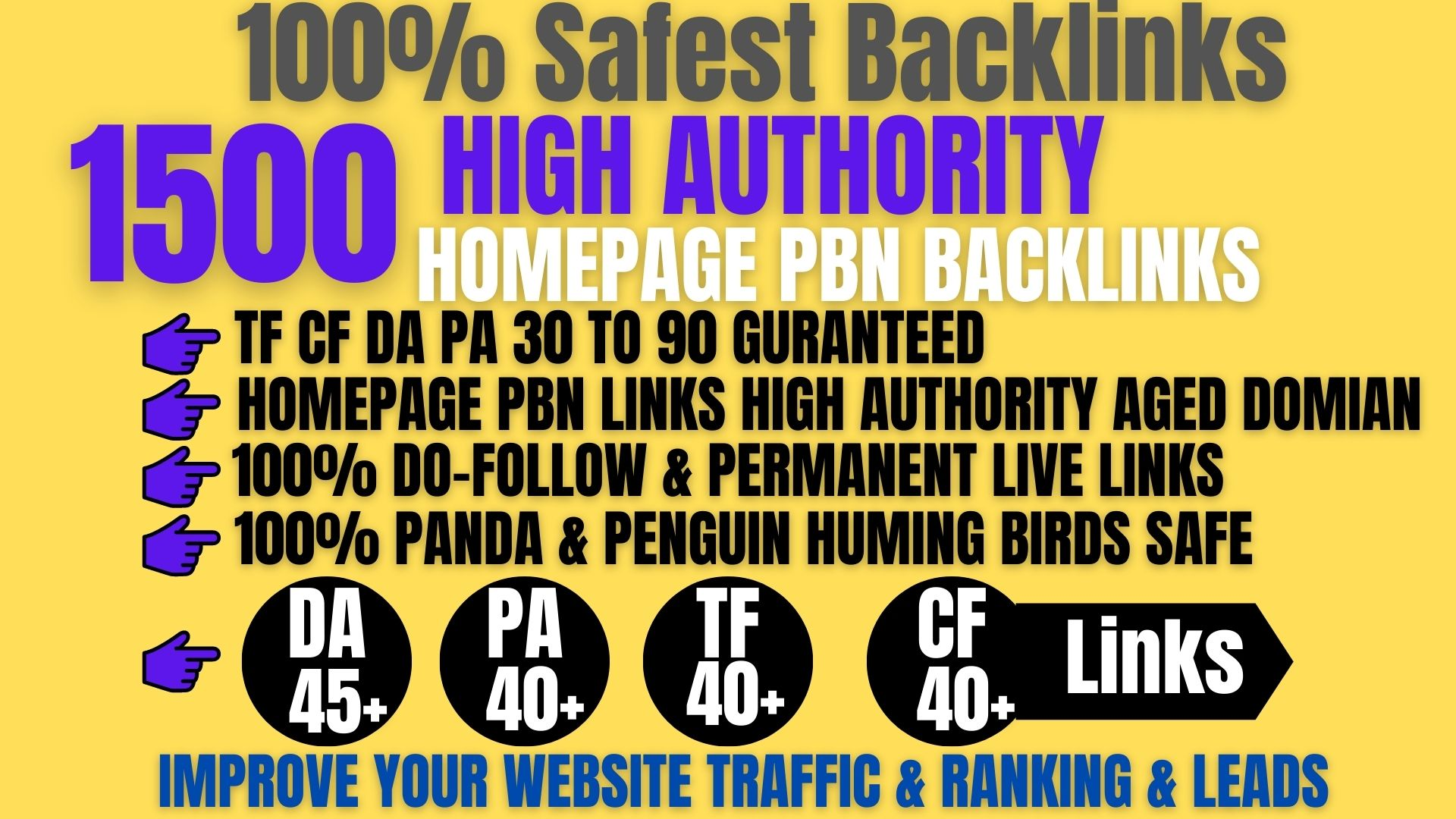I Will Do 1500+ Permanent PBN Backlinks Web2.0 With High DA/PA/TF/CF/Links Homepage Unique website