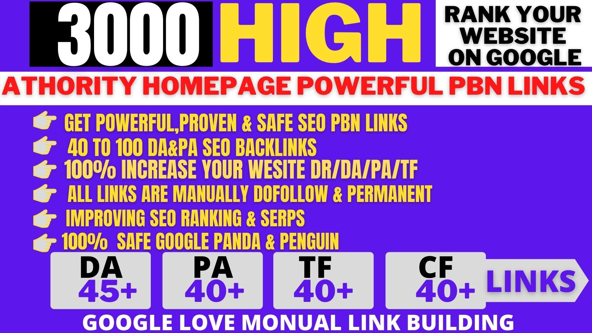 Permanent 3000+PBN Backlinks High DA /PA /tf/cf Do-follow Links Homepage Unique site