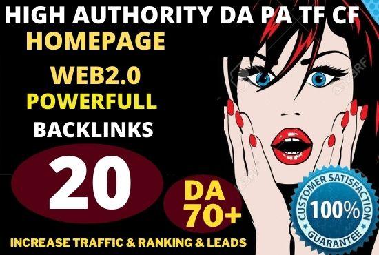 20+ Permanent PBN Backlinks Web2.0 With High TF CF DA 70+ PA Do-follow Links Homepage Unique website