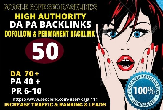 Build 50+ Permanent web2.0 Backlink with High TF,  CF,  DA 70+ PA 40+with unique website
