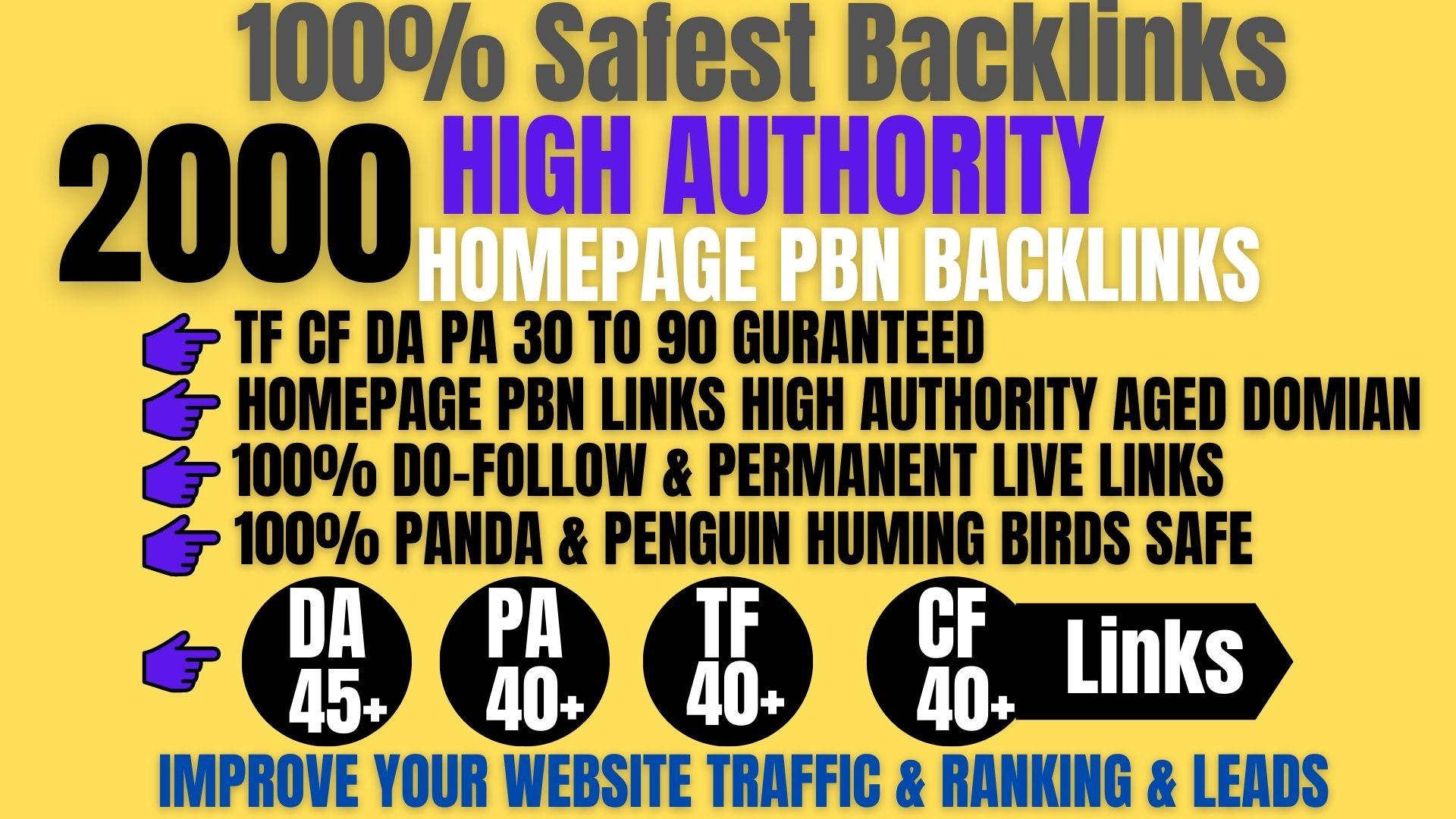 2000+ Permanent PBN Backlinks Web2.0 With High DA45+PA40+PR6+Links Homepage Unique website