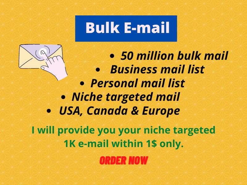 I will Provide you bulk email list.