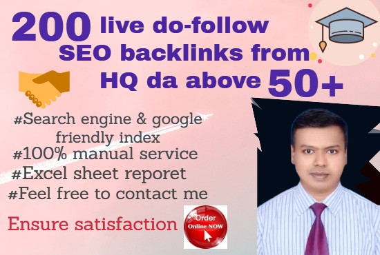 HQ 50+ DA dofollow Backlinks that will be boost-up your ranking.