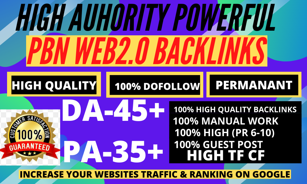 Build 500 Permanent High Quality Web2.0 Backlink with high DA-45+ PA-35 PR9 6-100Unique Websites