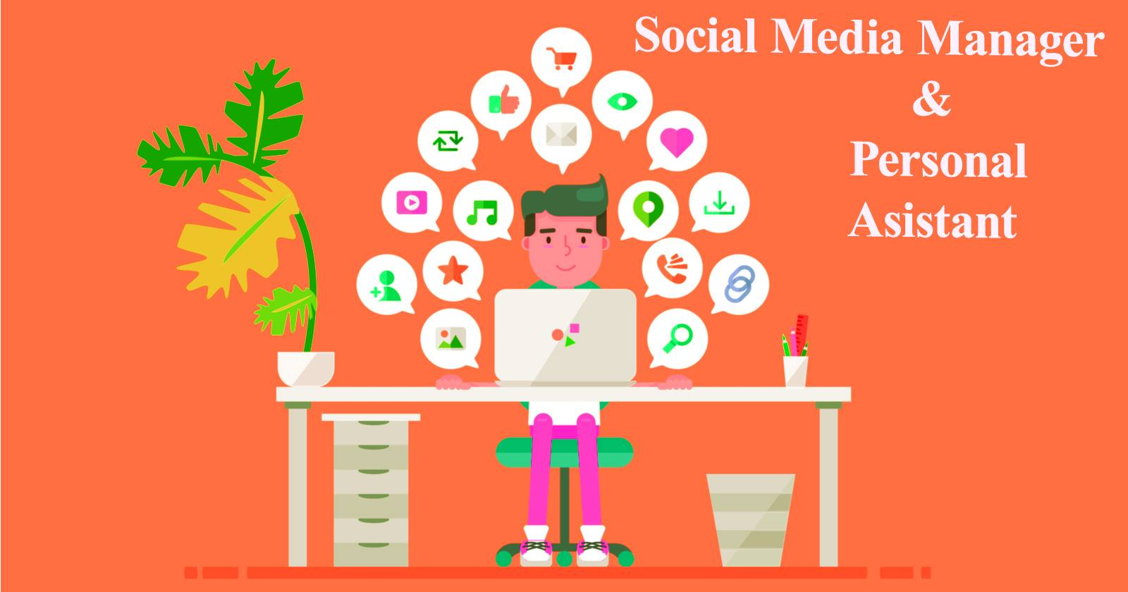 I will work for your social media manager and personal assistant