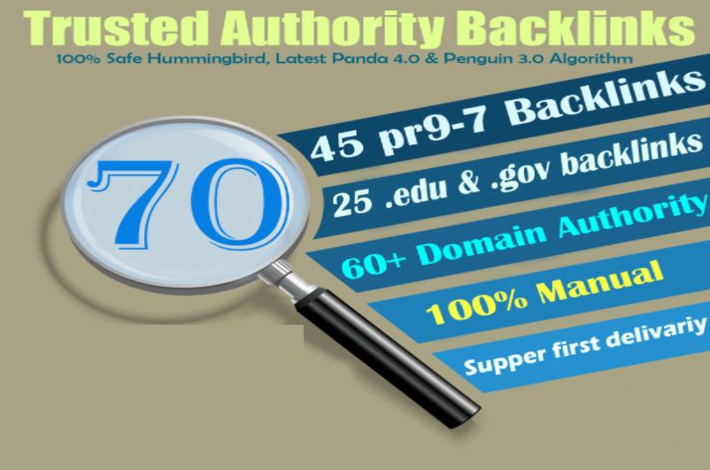 Ranking Exclusive-70 Backlinks 50 PR9 + 25 EDU/GOV 80+DA manually seo Backlinks
