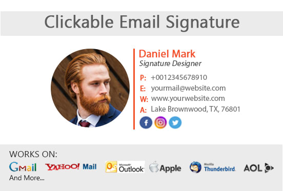 I will provide clickable HTML email signature