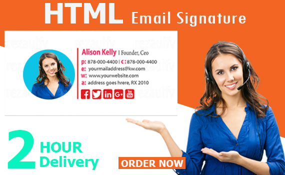 I will create clickable HTML email signature.
