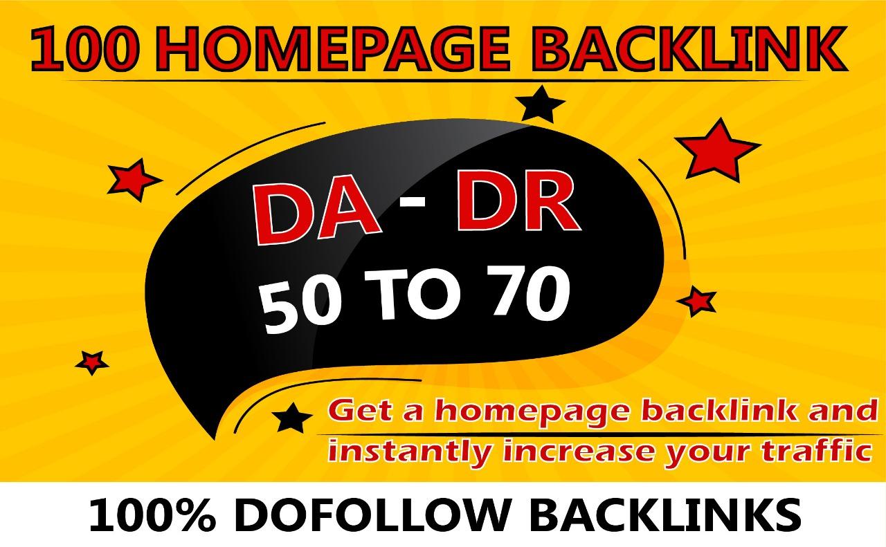 I will provide 100 high DA DR homepage PBNs backlinks