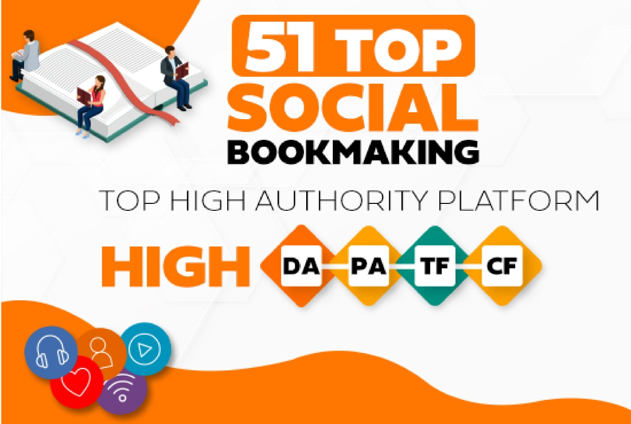 I will Create 51+ top High Authority Social Bookmarking Backling