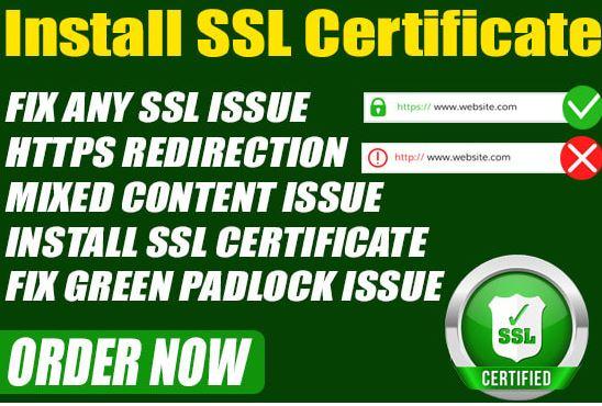 I will install SSL certificate, fix green padlock issue on wordpress
