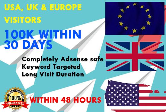 Send USA,  UK,  EUROPE keyword target website traffic