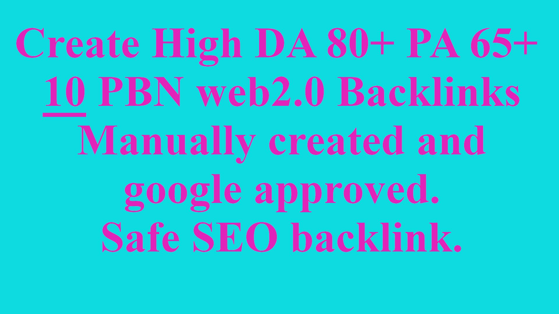 Web 2.0 10 PBN Unique Sites DA 80+ PA 65+