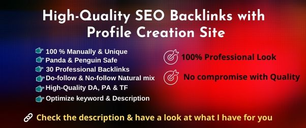 80 High Authority complete profile creation backlinks manually