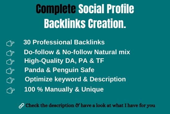 Get 30 effective High Authority complete profile creation backlink manually