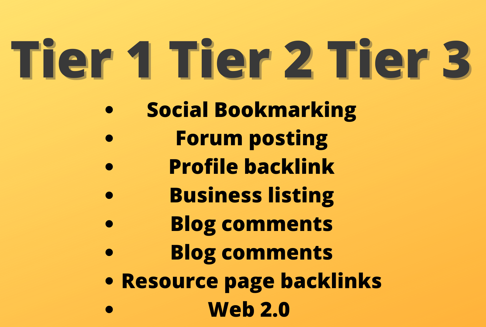 I will do high quality tier 1 tier 2 tier 3 backlinks for off page seo