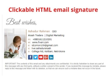 I will create modern Clickable HTML email signature