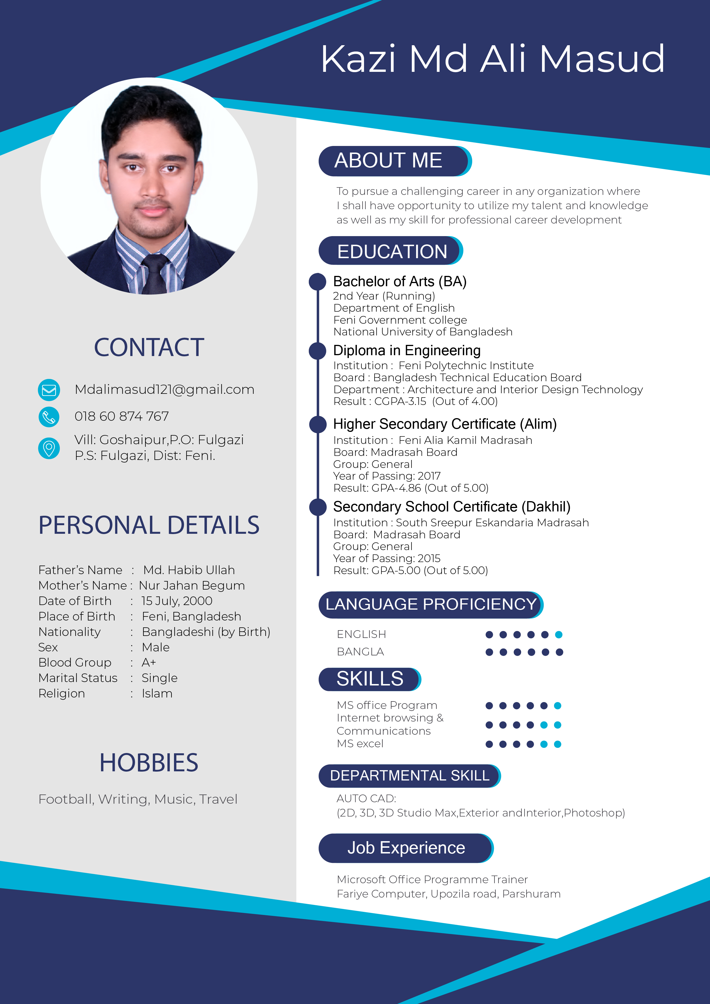 I will design professional resume and bio data with your budget