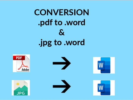 CONVERSION .pdf to .word & .jpg to .word
