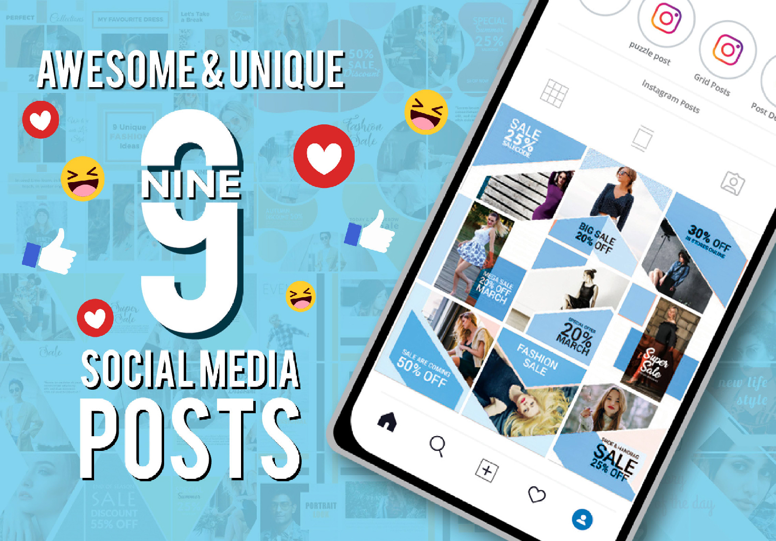 I will make 9 awesome Instagram and Facebook posts designs
