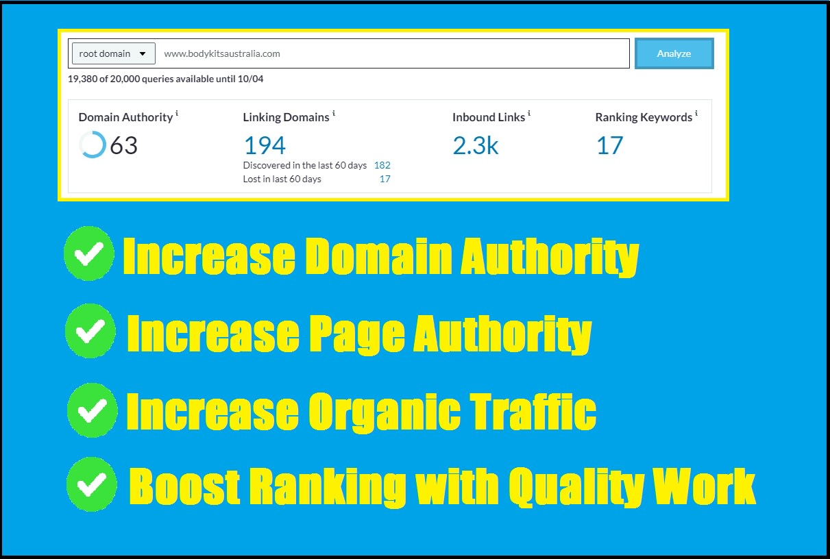I will increase moz domain authority da 50 plus with quality backlinks