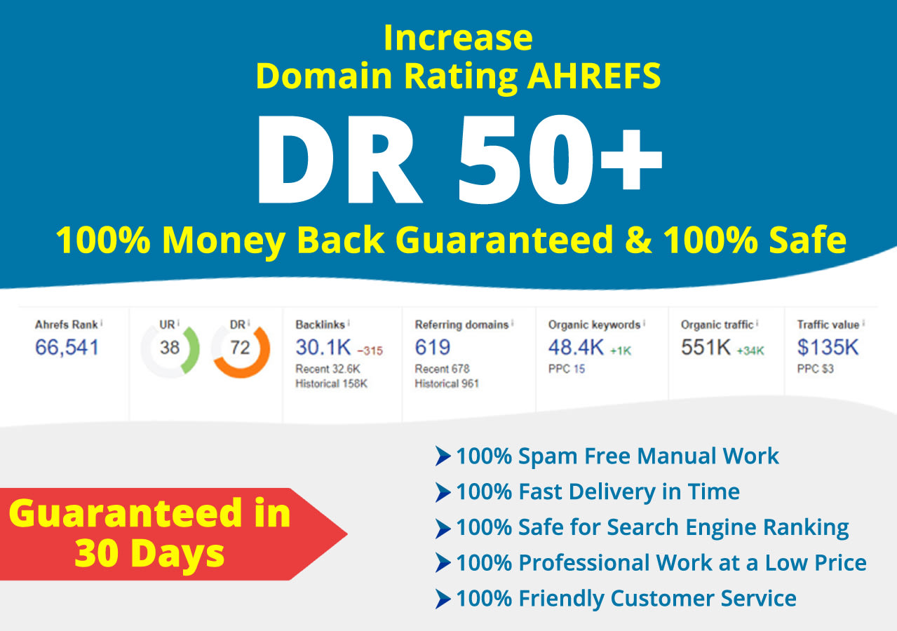 I will increase domain rating DR 0 to 50 plus