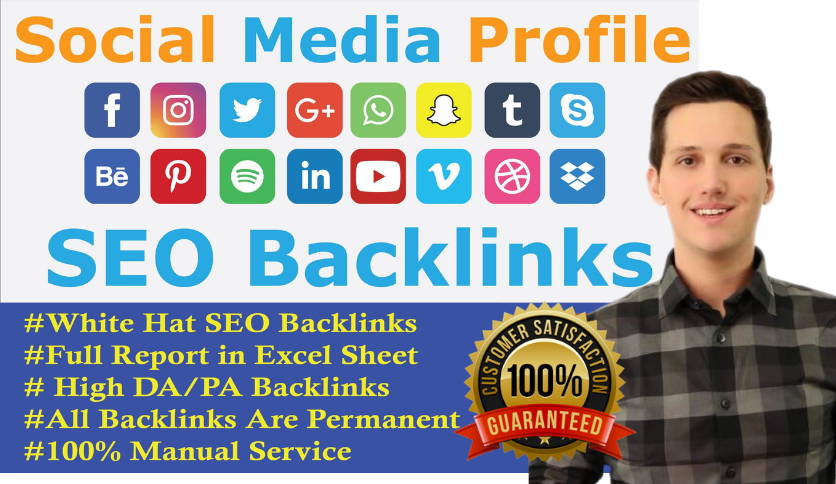 I will create manually 100+ social media profiles seo backlinks