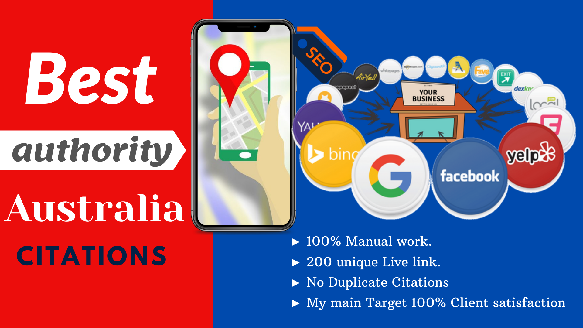 Get Accurate local 60 citations for local listings only for Australia any company