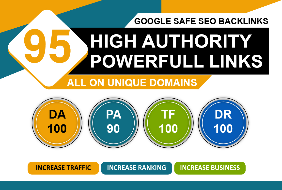 Get 95 High PR SEO Backlinks DA 35-95+ Unique doming low bunce rate Increase Ranking